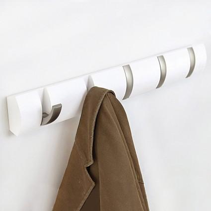 Вешалка настенная flip 5 крючков | белая