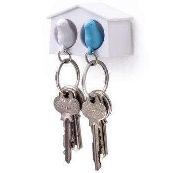 Держатель+брелок для ключей двойной Mini Sparrow | белый/голубой