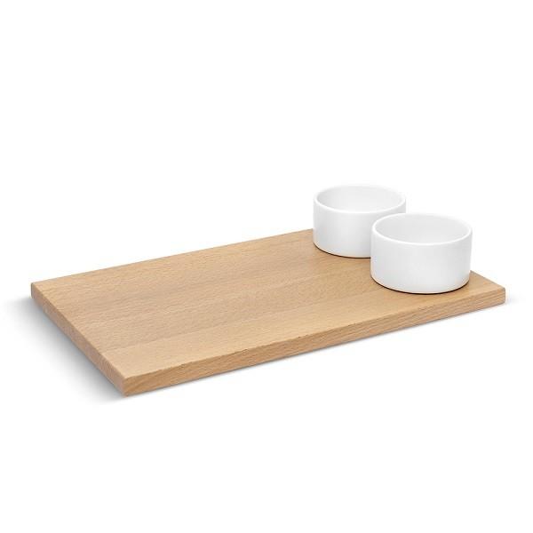 Доска для хлеба с соусницами savore | натуральное дерево/белый