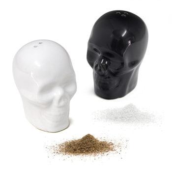 Набор для соли и перца керамический Skully | черный/белый