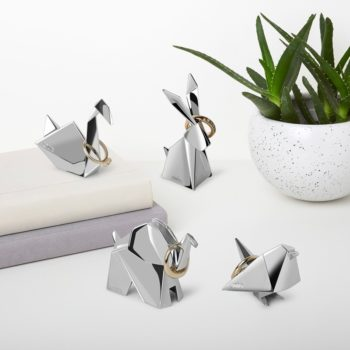 Подставка для колец Origami Animal лебедь| глянцевое серебро