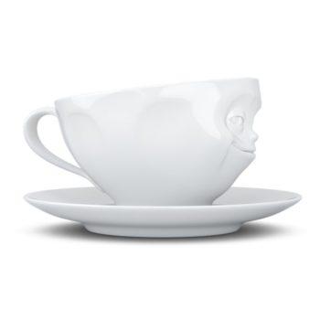 "Чашка с блюдцем Tassen 200 мл ""ХИТРАЯ УЛЫБКА""   белая"