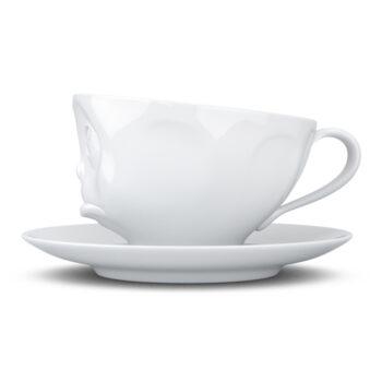 """Чашка с блюдцем Tassen 200 мл """"ПЕЧАЛЬНЫЙ""""   белая"""